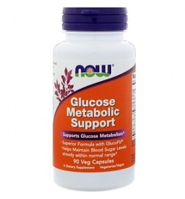 NOW Glucose Metabolic Support - Глюкоз метаболик саппорт, 90 капсул - БАД
